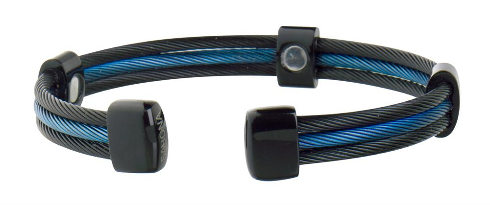 Sabona Trio Cable Black/Blue Line Stainless Magnetic - Mens Executive Bracelet