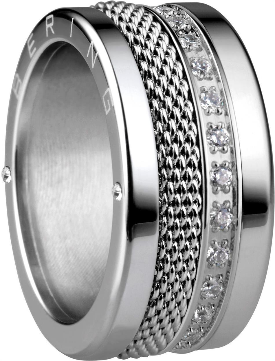 Bering - Combi-Ring - Wide Ladies Silver Plated Stainless Steel w/ Silver Plated Mesh & CZ Inner Rings