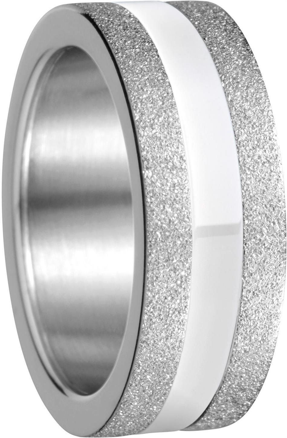 Bering - Combi-Ring - Slim Ladies Sparkling Silver Plated Stainless Steel w/ White Ceramic Inner Ring