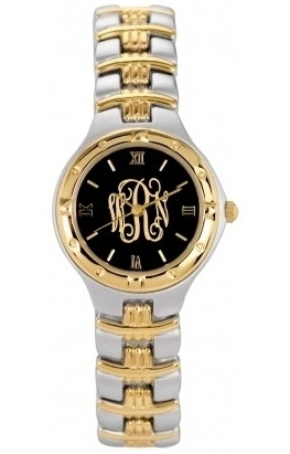 Alison & Ivy - Ladies Two Tone Script Watch 26mm - Customizable Jewelry Collection