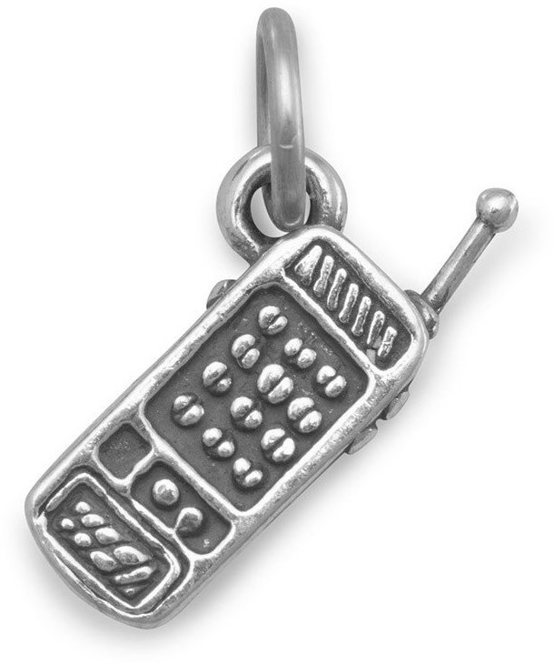 Cellular Phone Charm 925 Sterling Silver