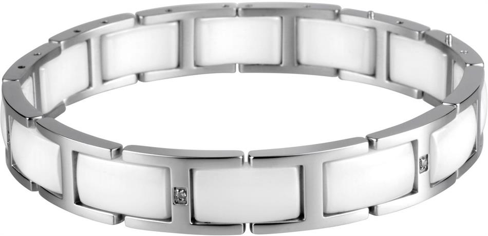 Bering - Ceramic - Ladies Link Bracelet Silver Plated Stainless Steel w/White Links