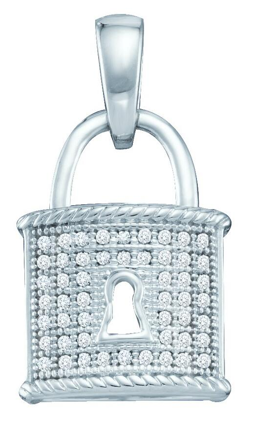 0.12ctw Diamond Micro-Pave Lock Fashion Pendant 10K White Gold