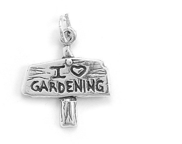 I Love Gardening Sign Charm 925 Sterling Silver