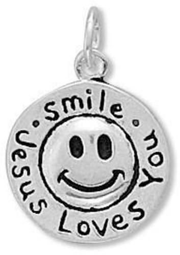 Smile Jesus Loves You Charm 925 Sterling Silver