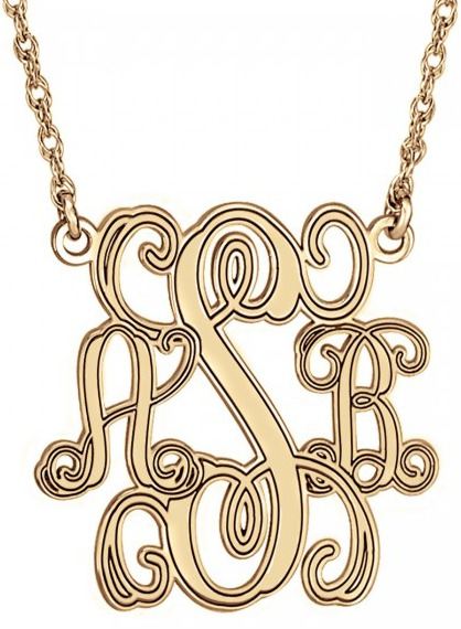Alison & Ivy - Traditional Monogram Personalized Necklace 15mm - Customizable Jewelry Collection