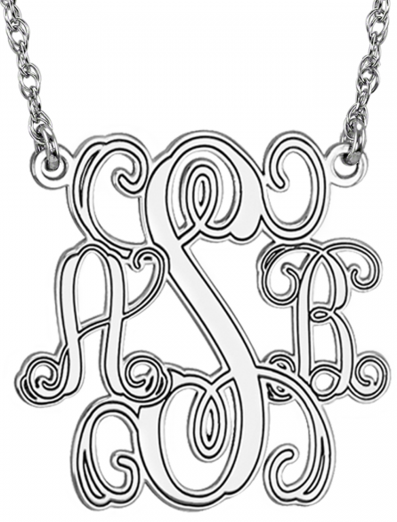 Alison & Ivy - Traditional Monogram Personalized Necklace 25mm - Customizable Jewelry Collection