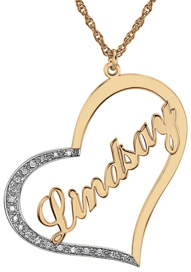 72d4397096 Alison & Ivy - Heart Name Necklace w/CZ Accents 33x30mm - Customizable  Jewelry Collection