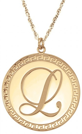 Alison & Ivy - Patterned Edge Disc w/ Script Initial Necklace 25mm - Customizable Jewelry Collection