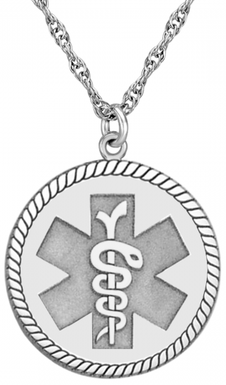 Alison & Ivy - Round Rope Medical ID Alert Necklace 20mm - Customizable Jewelry Collection