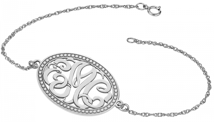 Alison & Ivy - Classic Bordered Oval Monogram Chain Bracelet 18x25mm - Customizable Jewelry Collection