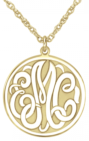 Alison & Ivy - Classic Recessed Monogram Necklace 20mm - Customizable Jewelry Collection
