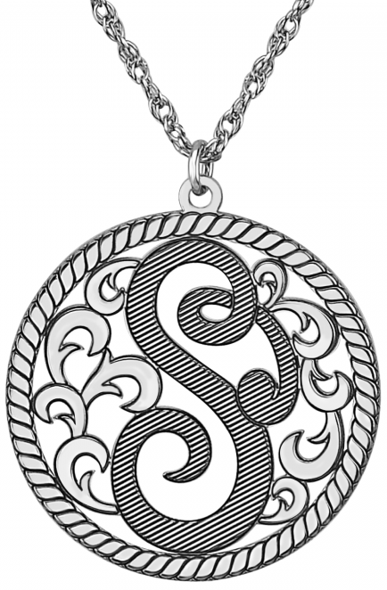 Alison & Ivy - Cutout Single Initial Decorative Necklace w/Rope Border 25mm - Customizable Jewelry Collection