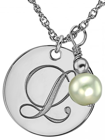 Alison & Ivy - Single Initial & Freshwater Pearl Dangle Necklace 18mm - Customizable Jewelry Collection