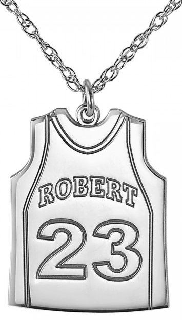 Alison & Ivy - Basketball Jersey w/Stripe Necklace 23x17mm - Customizable Jewelry Collection