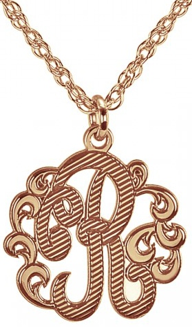 Alison & Ivy - Single Initial Cutout Textured Necklace 15mm - Customizable Jewelry Collection