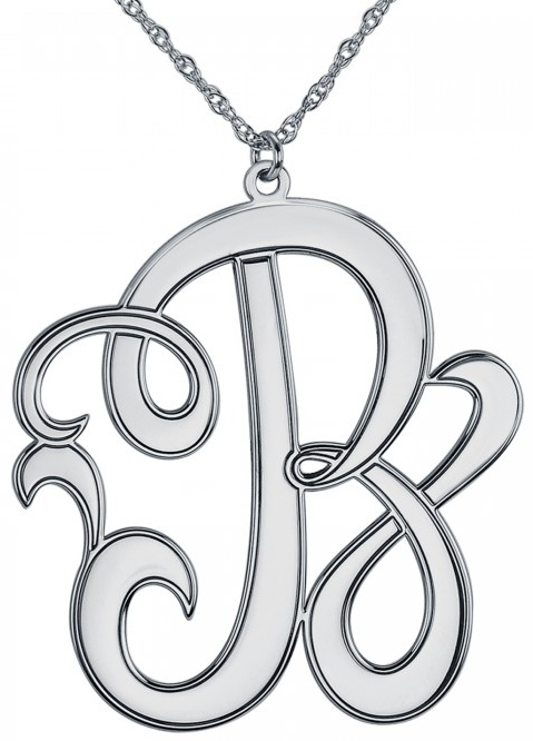 Alison & Ivy - Cutout Script Initial Necklace 40mm - Customizable Jewelry Collection