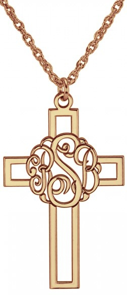Alison & Ivy - Classic Initial Cutout Cross Necklace 29x19mm - Customizable Jewelry Collection