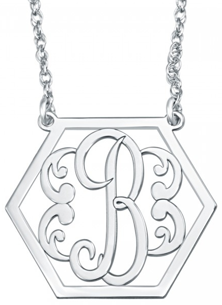 Alison & Ivy - Single Initial Hexagon Necklace 20x25mm - Customizable Jewelry Collection