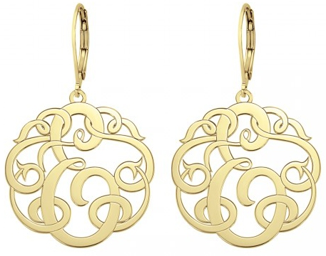 Alison Ivy Clic Single Initial Leverback Earrings 20mm Customizable Jewelry Collection