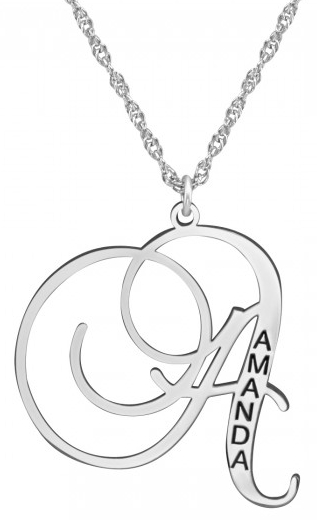 Alison & Ivy -  Single Initial & Name Engraved Pendant 24mm - Customizable Jewelry Collection