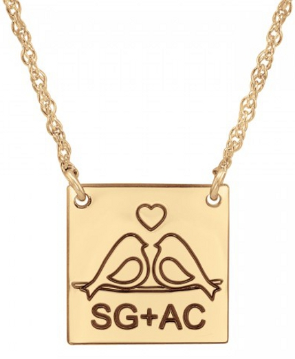 Alison & Ivy - Love Birds Square Necklace (10mm) - Customizable Jewelry Collection
