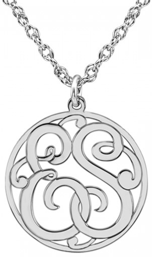 Alison & Ivy - Mini 10mm Script Halo Monogram Pendant Necklace (2 or 3 Initials) - Customizable Jewelry Collection
