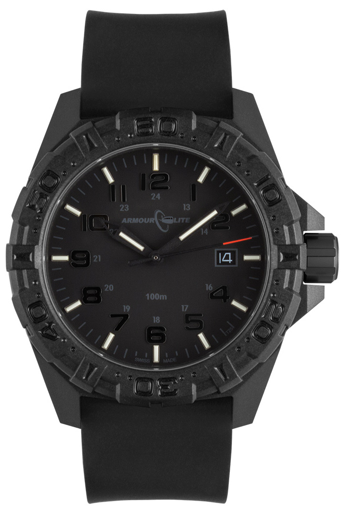 ArmourLite Tritium Watch - Operator Series AL1502 Black Numbers Silicone Band Watch