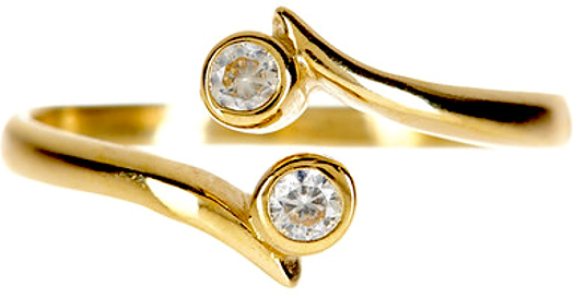 "14K Yellow Gold 1.35mm (0.05"") Polish Flat Domed Like w/ 2 Round Faceted Cubic Zirconia (CZ) Bypass Toe Ring"