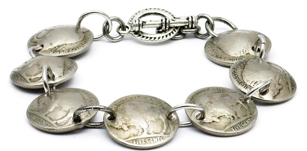 Buffalo Nickel Coin NON-MAGNETIC Bracelet Handmade by Maria Lucia