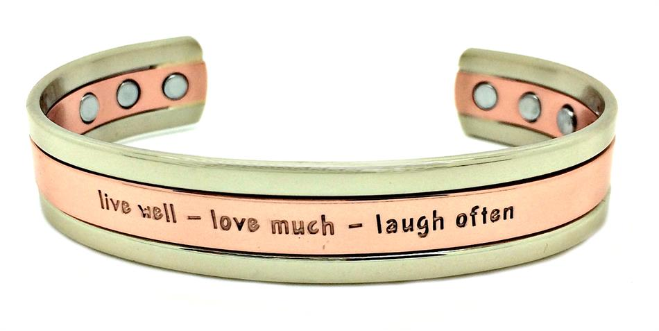 """Live Well"" Cuff - Solid Copper Magnetic Therapy Bracelet"