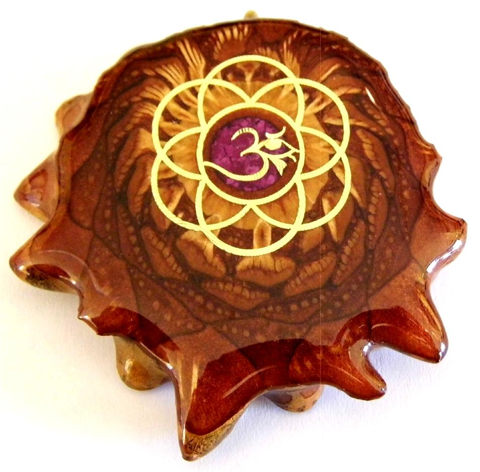 "Third Eye Pinecones - 1.5"" Crushed Sugilite w/ Seed of Life & OM Pendant - Handcrafted from the Knobcone Pinecone"