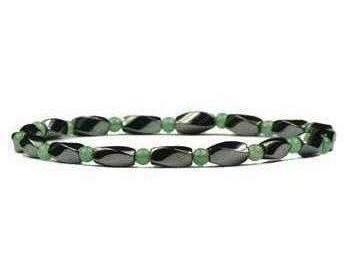 Simulated Jade Hematite Anklet - Magnetic Therapy Anklet (HA-J) - DISCONTINUED