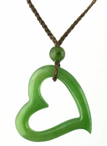 Jade Angled Cutout Center Heart Pendant (HNW-3506-3)