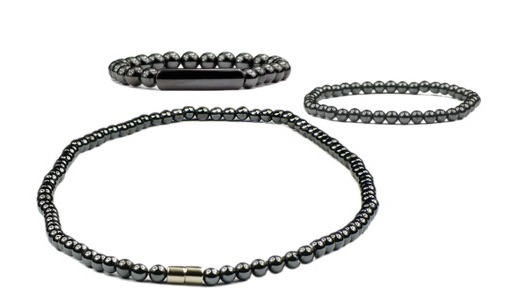Hematite Spheres Set - Magnetic Necklace, Bracelet & Anklet Set