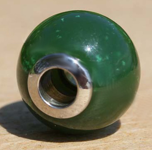 Round Genuine Natural Nephrite Jade Bead w/ Surgical Steel Inside 14mm