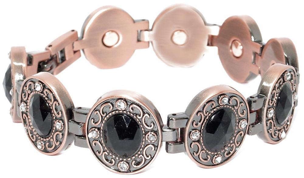 Copper Plated W Rhinestones Magnetic Therapy Bracelet