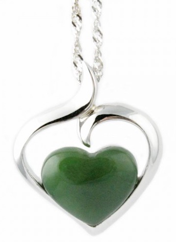 Polar Heart Pendant w/Jade Center (P0822)