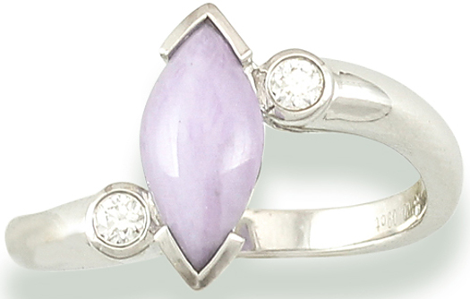 Sz 7 Marquise Natural Lavender Jadeite Jade 0.09ctw Diamond 18K White Gold Ring