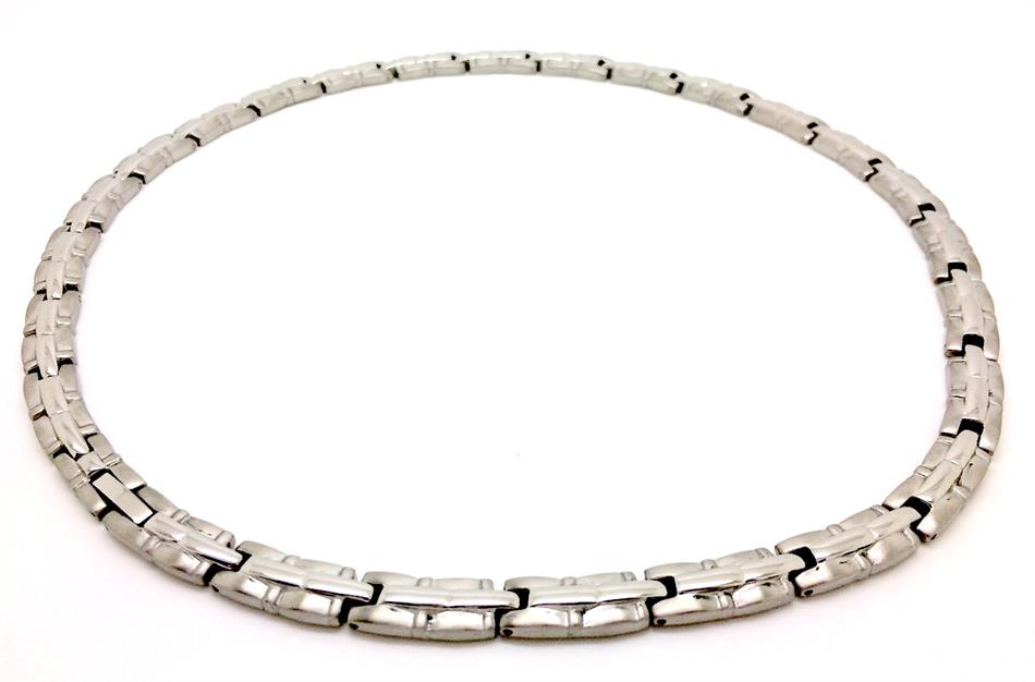 "19"" Shiny Bars Silver Plated Titanium Magnetic Therapy Necklace (TTN-04)"