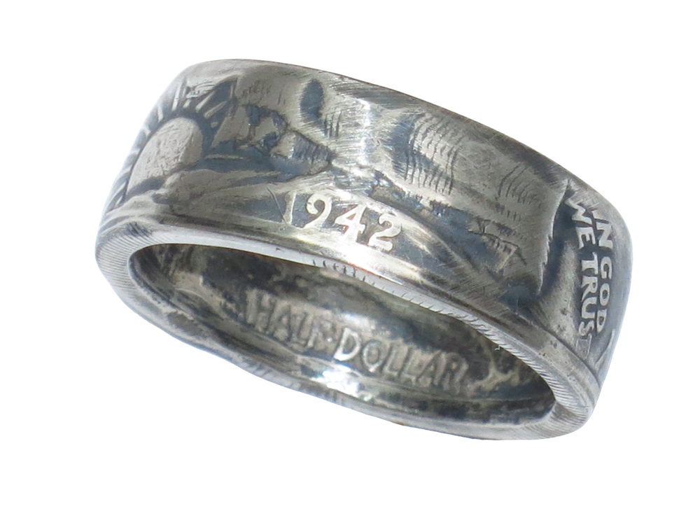 Walking Liberty Half Dollar Coin Ring - Handmade by Maria Lucia