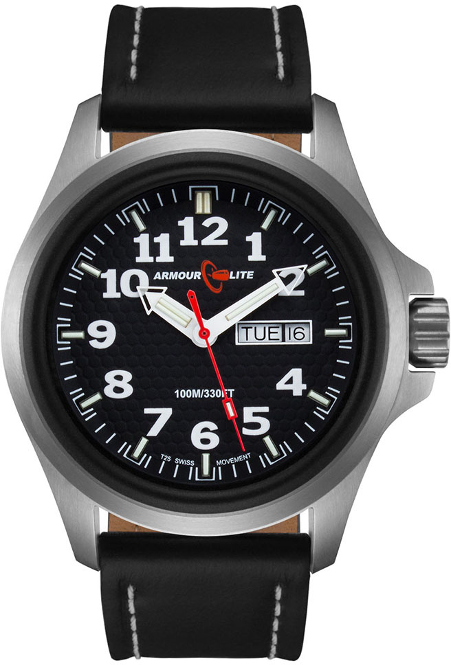 ArmourLite Tritium Watch - Officer Series AL801 - Silver with Black Leather Band