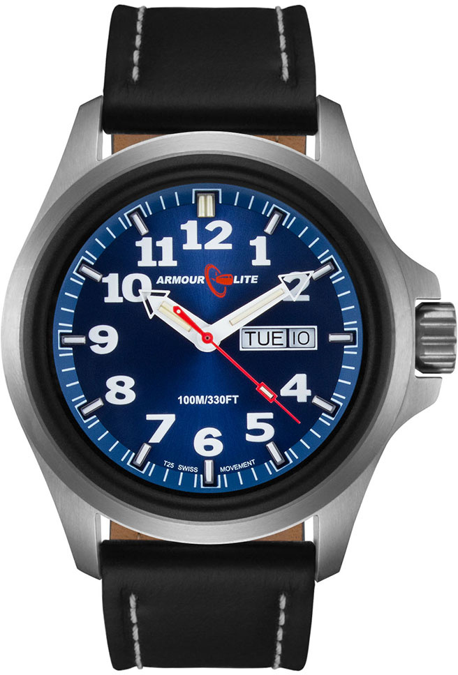 ArmourLite Tritium Watch - Officer Series AL803 - Silver with Black Leather Band