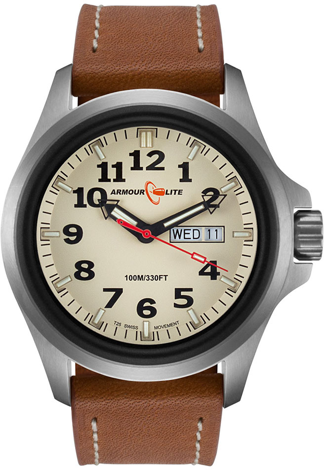 ArmourLite Tritium Watch - Officer Series AL805 - Silver with Brown Leather Band