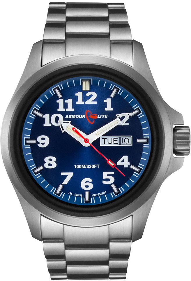 ArmourLite Tritium Watch - Officer Series AL813 - Silver with Blue Dial