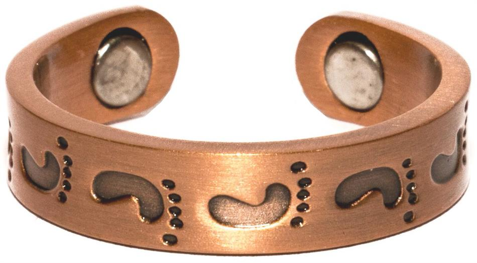 Copper Foot Prints - Magnetic Therapy Ring (CCR-119)