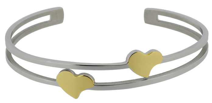 Q Ray - Steel Series - Double Heart Stainless Steel Cuff Bracelet (Q141)