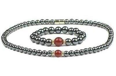 Hematite & Simulated Red Agate - Magnetic Therapy Bracelet and Necklace Set (hrczs)