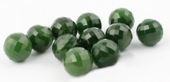 Genuine Natural Nephrite Jade Round Bead Faceted 12mm Grade A