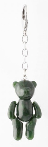 Genuine Natural Nephrite Jade Jointed Teddy Bear Keychain